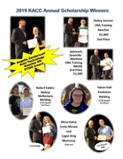 Pictures of students who won scholarships, receving award from Mr. Kelley