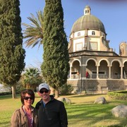 Teresa and Derick Miller at the Mount of the Beatitudes, Northern Israel in Korazim Plateau