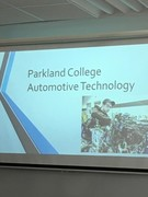 Sign says Parkland College Automotive Technology